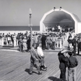 People walking on the Ocean city board walk 1950
