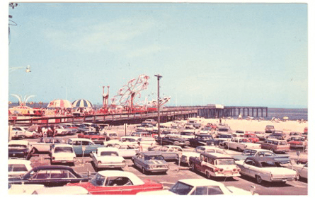 parking lot by the pier full of cars