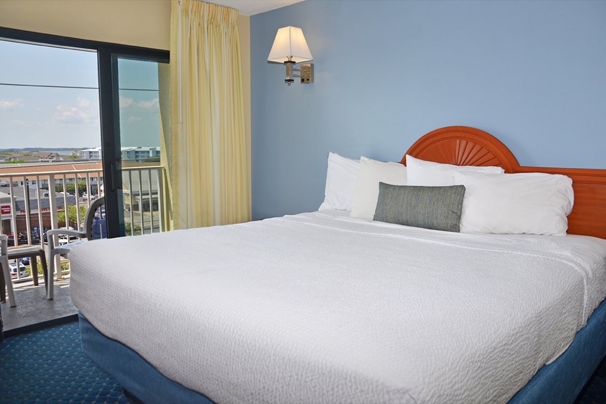 hotel room with 1 king bed and balcony with city view